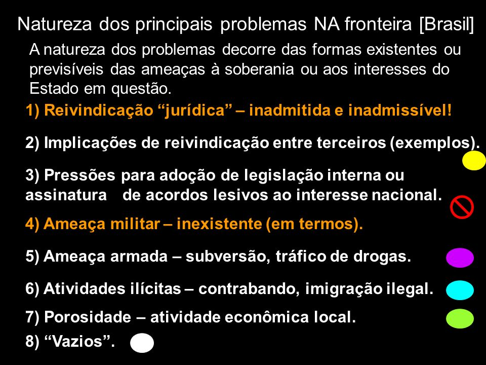 Natureza dos principais problemas NA fronteira [Brasil]